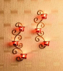 Hosley Set of 2 Metallic Gold Wall Sconce with Red and Clear Glasses
