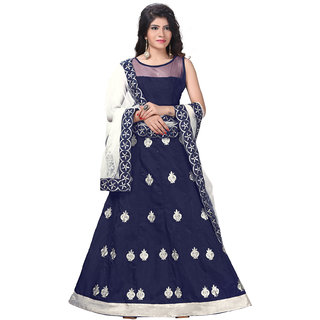 Aika Banglori Net Fabric Embroidered Gown For Women (Free SizeBlue)-GOVM2110B