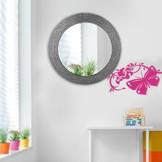 Hosley Decorative Metal Studded Round Wall Mirror