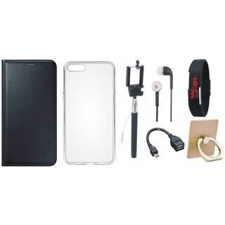 Motorola Moto G5s Plus Premium Leather Cover with Ring Stand Holder, Silicon Back Cover, Selfie Stick, Digtal Watch, Earphones and OTG Cable