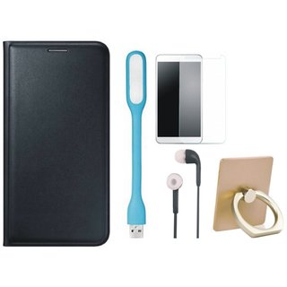 Motorola Moto G5s Plus Cover with Ring Stand Holder, Tempered Glass, Earphones and USB LED Light