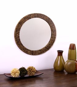 Hosley Decorative Round Log Slices Carved Brown Wooden Wall Mirror