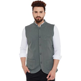 Hypernation Grey Color Cotton Waistcoat for Men