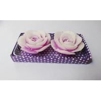 Zanky White & Purple Rose Candle-Pack Of 2 (ZYCNL16)