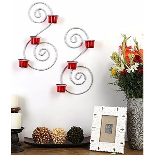 Hosley Set of 2 Metallic Silver Wall Sconce with Red and Clear Glasses