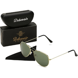 Debonair Green UV Protected Unisex Aviator Sunglasses