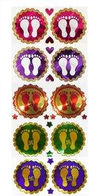Laxmi Charan Paduka Stickers (Set of 5 Pairs) (Assorted Colours)