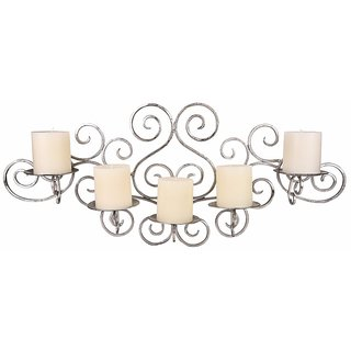 Hosley Metallic Silver Wall Sconce with Free Candles