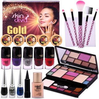 Festive Special All in One Makeup Palette by Color Diva  Skin Diva Gold Facial Kit Combo
