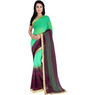 Sareemall Women's Green Plain Saree With Blouse