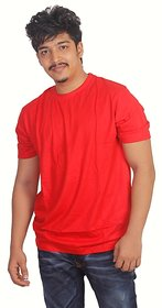 Grahakji Men's Red Round Neck T-Shirt