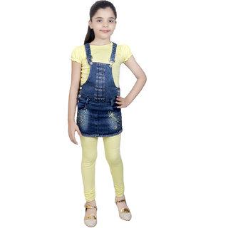 KBKIDSWEAR Cotton Top Legging with Denim Dangree for Girls