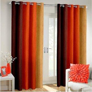 Tejashwi Traders Orange Patta Window curtain set of 2 (4x5)