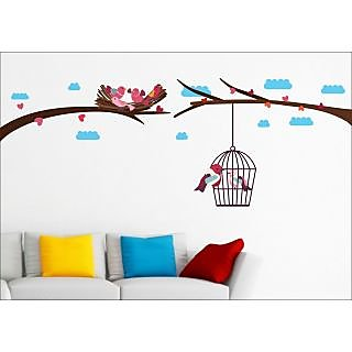 EJA Art Love Birds With Nest Wall Sticker (72 X 30Inch Covering Area )