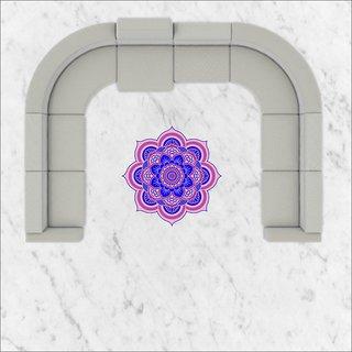 EJA Art Art No FS01 Blue and Pink Rangoli Floor Sticker 24x24 Inch