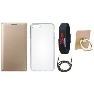 Vivo Y55 Stylish Cover with Ring Stand Holder, Silicon Back Cover, Digital Watch and AUX Cable
