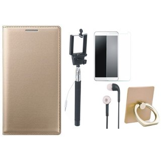 Redmi Note 4 Leather Cover with Ring Stand Holder, Free Selfie Stick, Tempered Glass and Earphones