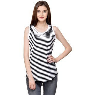 0c20f3d69bf05 Buy Raabta Strip Long Top with Back White Yoge Online - Get 69% Off