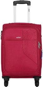 Safari Medium Red Fabric 4 Wheels Trolley