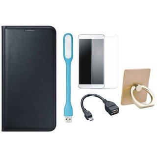Samsung J7 2016 ( SM-J710 ) Stylish Cover with Ring Stand Holder, Tempered Glass, USB LED Light and OTG Cable
