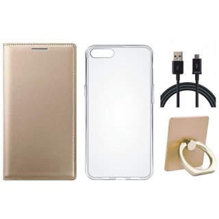 Moto C Plus Leather Cover with Ring Stand Holder, Silicon Back Cover, USB Cable