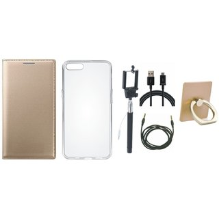 Lenovo K5 Note Premium Leather Cover with Ring Stand Holder, Silicon Back Cover, Selfie Stick, USB Cable and AUX Cable