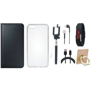 Samsung J7 Prime (  SM-G610F ) Leather Cover with Ring Stand Holder, Silicon Back Cover, Selfie Stick, Digtal Watch, Earphones and USB Cable