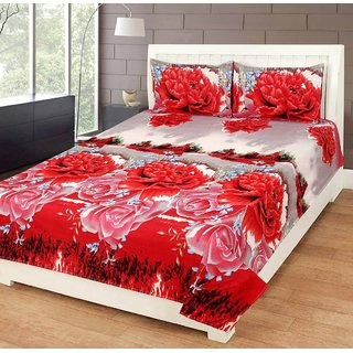 3D Printed 1 Double Bed Sheet, 2 Pillow Cover