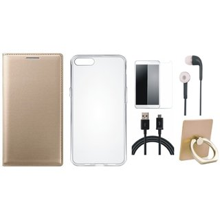Vivo Y55s Flip Cover with Ring Stand Holder, Silicon Back Cover, Tempered Glass, Earphones and USB Cable