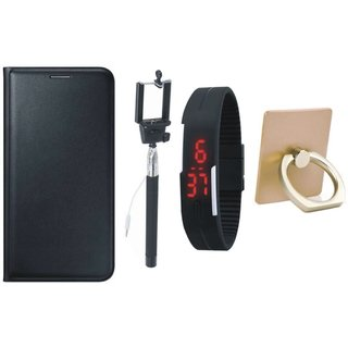 Oppo F5 Leather Cover with Ring Stand Holder, Selfie Stick and Digtal Watch