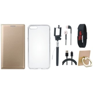 Vivo Y55s Premium Leather Cover with Ring Stand Holder, Silicon Back Cover, Selfie Stick, Digtal Watch, Earphones and USB Cable