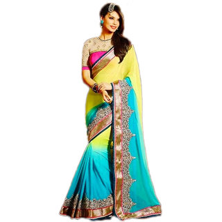 PR Fashion Georgette Yellow & Sky Blue Saree With Unstitched Blouse