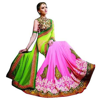 PR Fashion Net & Georgette Green & Pink Saree With Unstitched Blouse