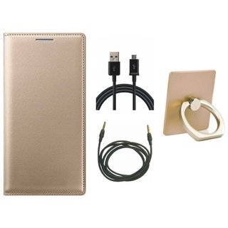 Vivo Y55s Leather Flip Cover with with Ring Stand Holder, USB Cable and AUX Cable