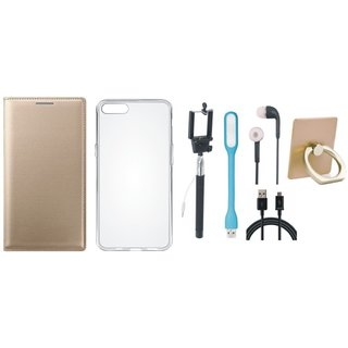 Vivo Y55s Leather Flip Cover with with Ring Stand Holder, Silicon Back Cover, Selfie Stick, Earphones, USB LED Light and USB Cable