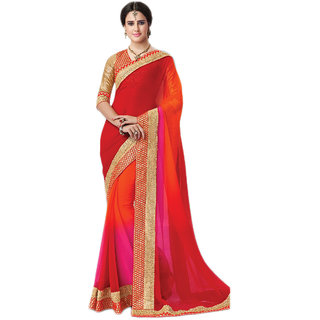 PR Fashion Chiffon Red & Pink & Orange Saree With Unstitched Blouse