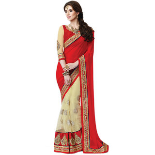 PR Fashion Georgette & Net Red & Cream Saree With Unstitched Blouse