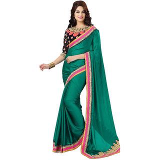 PR Fashion Satin Chiffon Green Saree With Unstitched Blouse