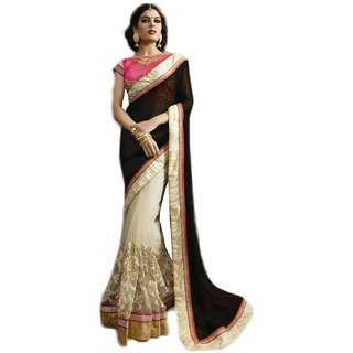 PR Fashion Georgette & Net Black & White Saree With Unstitched Blouse