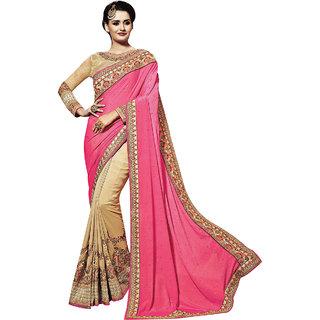 PR Fashion Viscosse Gold & Cream Saree With Unstitched Blouse