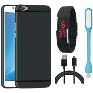 Oppo A71 Silicon Anti Slip Back Cover with Digital Watch, USB LED Light and USB Cable