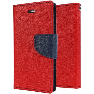 Samsung Galaxy J7 Prime Flip Cover by Leather Mercury Front & Back Flip Cover  - Red