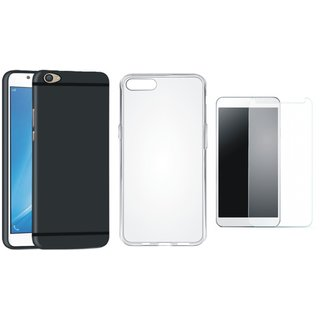 Oppo A71 Back Cover with Silicon Back Cover, Tempered Glass