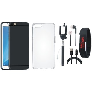 Oppo A71 Back Cover with Silicon Back Cover, Selfie Stick, Digtal Watch, Earphones and USB Cable