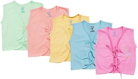 Jo Kids Wear Sleeveless Front Open New Born Baby Tops set (4079 (0-3 Month) Set of 5