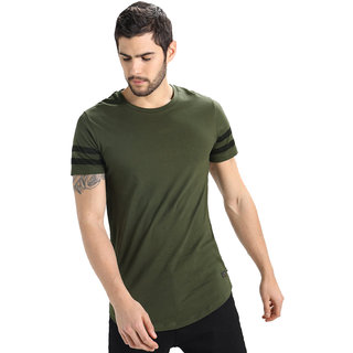 Trends Tower Mens Olive Cotton Plain T-Shirts