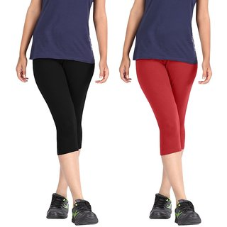 Pixie Women Super Fine Capri 190 GSM, Pack of 2 (Black and Red) - Free Size