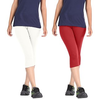 Pixie Women Super Fine Capri 190 GSM, Pack of 2 (White and Red) - Free Size