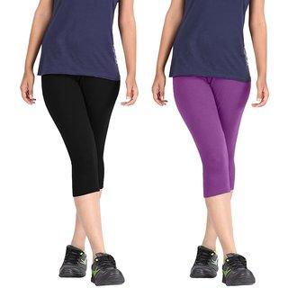 Pixie Women Super Fine Capri 190 GSM, Pack of 2 (Black and Purple) - Free Size