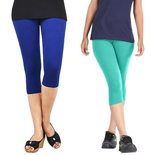 Pixie Women Super Fine Capri 190 GSM, Pack of 2 (Blue and Turquoise) - Free Size